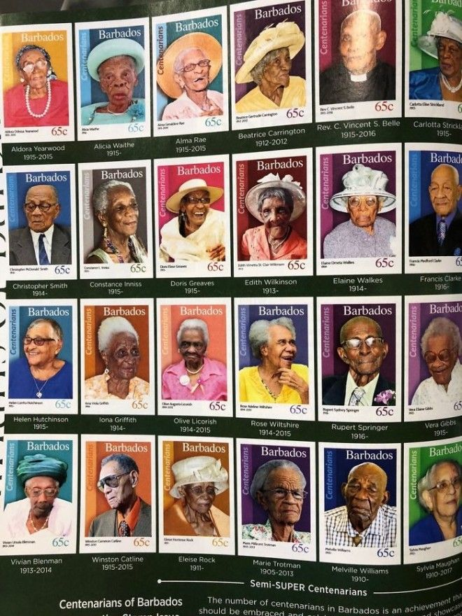 When You Reach 100 Years Old In Barbados You Get A Stamp In Your Honour Lovely