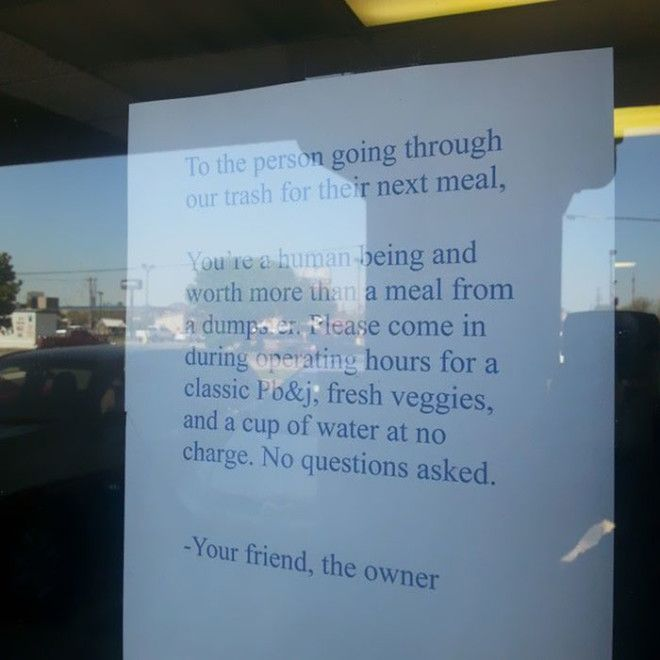 Seen At A Restaurants Front Window Faith In Humanity Restored