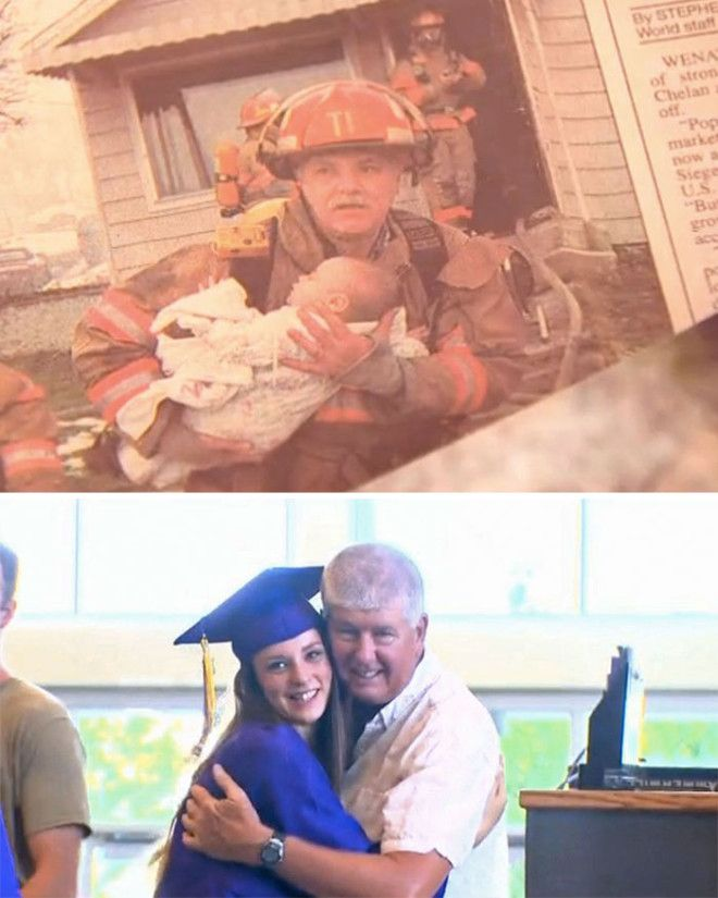 Retired Firefighter Invited To The Graduation Of A Girl He Rescued 17 Years Ago From Her Crib During A House Fire