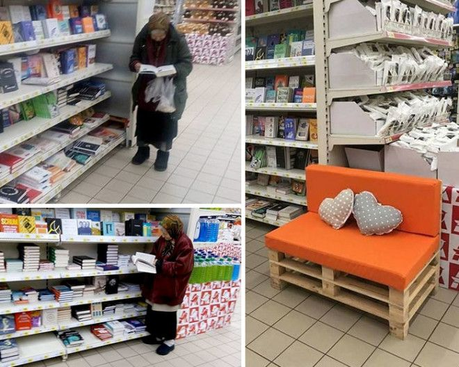 This Old Lady Goes To The Supermarket To Read Books All The Time So The Manager Put A Little Bench For Her
