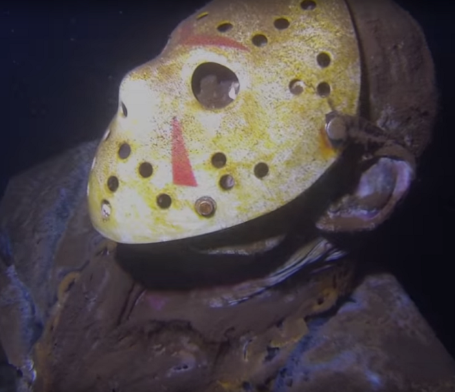 Someone put this Jason Voorhees statue under a lake to freak out divers
