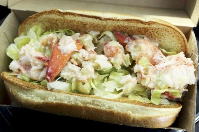 A McLobster sandwich in Nova Scotia The lobster roll sandwiches are served at fast food restaurants in Atlantic Canada
