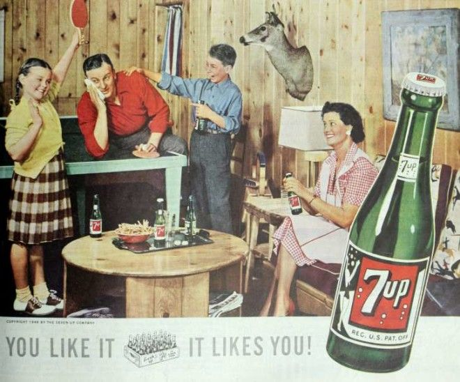 7 Up ad featuring family in 1948 issue of Ladies Home Journal magazine