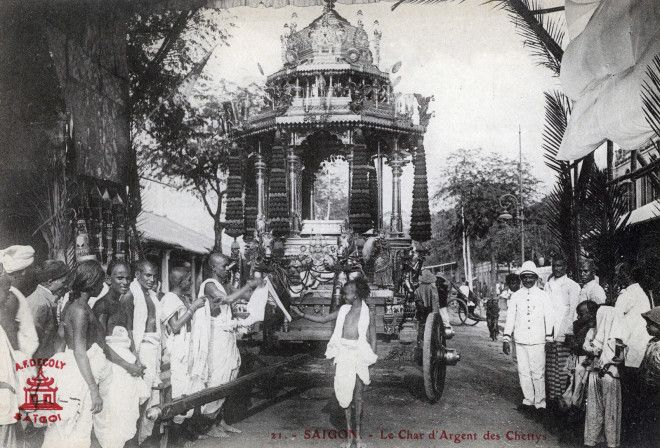 The silver chariot of the Chettiars, a title used by various castes from South India, seen here in Saigon.