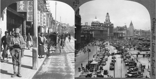 Left: Nanjing Road in Shanghai. Right: The Bund in Shanghai.