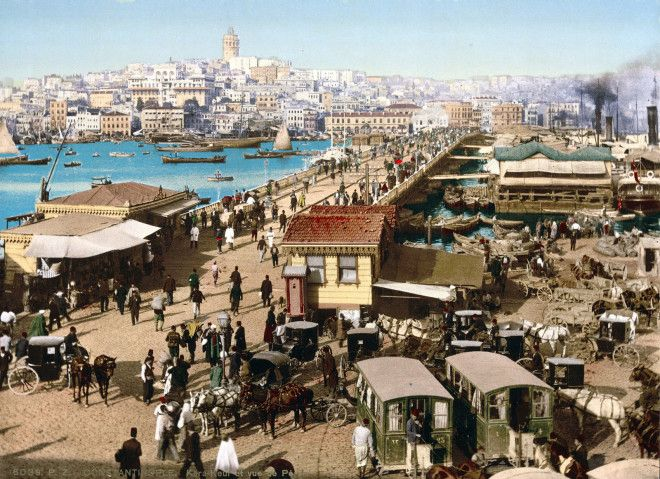 A hand-colored photograph of Constantinople (later named Istanbul).
