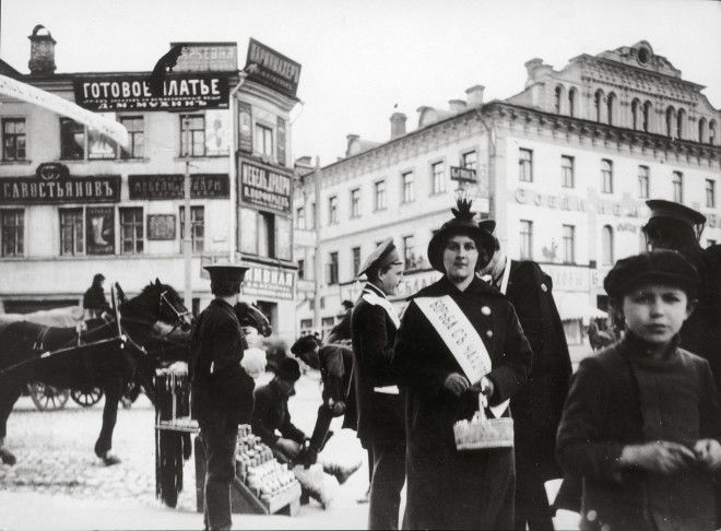 Pedestrians make their way down Arbat Street within the Garden Ring of Moscow.
