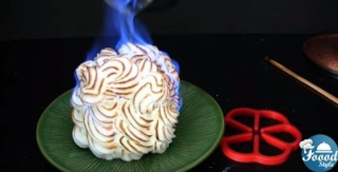 What's sweet, frozen, yummy, and set on fire?