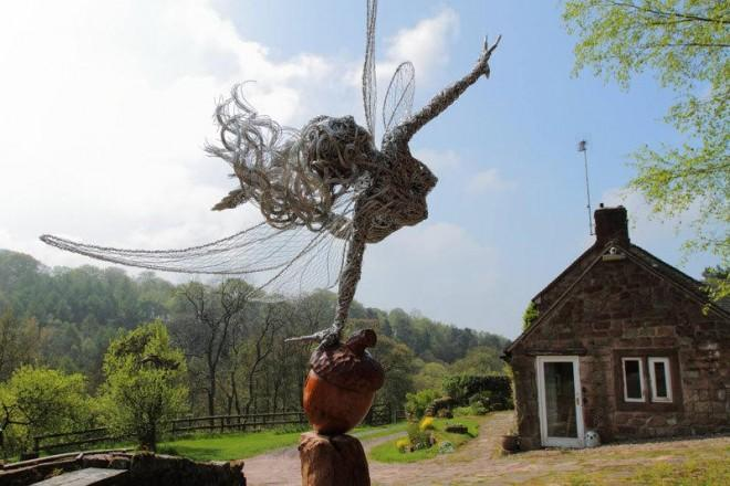 Steel wire fairy sculptures