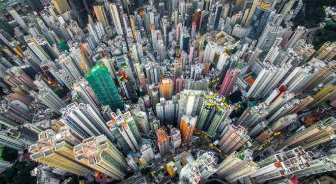 An aerial view of Hong Kong