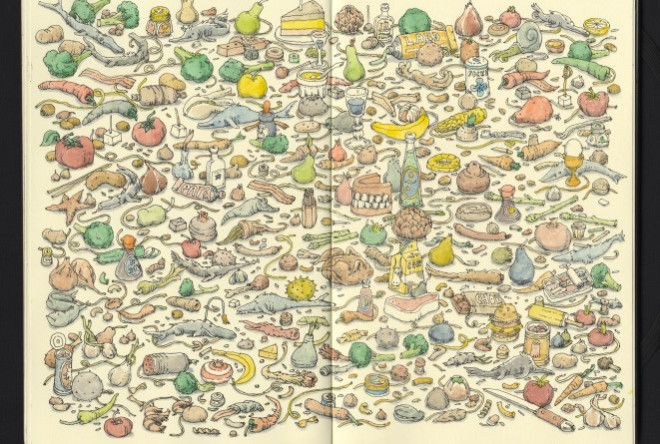 Got lost inside these absolutely wild sketchbook spreads from illustrator Mattias Adolfsson