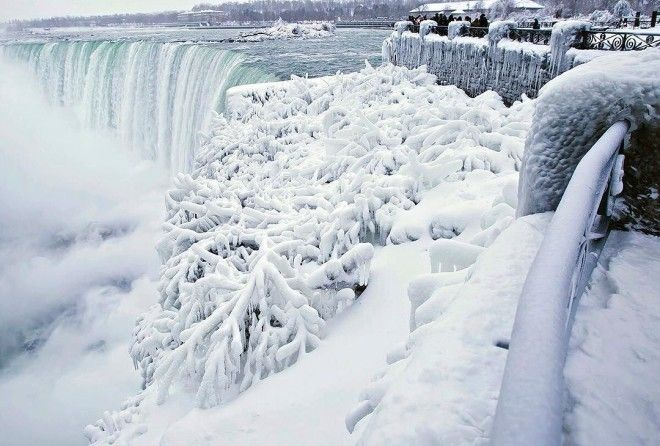 It's so cold the waterfalls have frozen mid-fall!