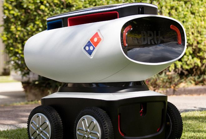 We have seen the future of pizza delivery, and it includes robots.
