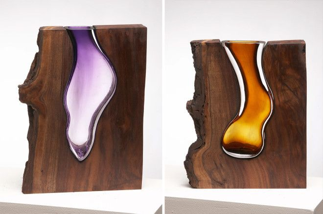 These glass vessels within beautiful shapes of wood - just gorgeous.