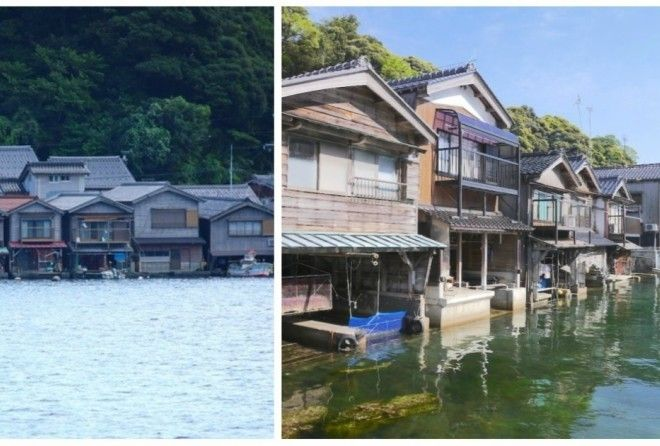 The houses appear as if they are floating on water.
