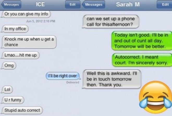 Using text messages to communicate with your boss is handy, but beware the dreaded autocorrect can make things very awkward.
